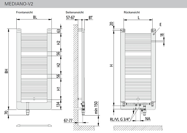 mediano v2 kermi badheizkoerper badheizk rper heizung bad pirat. Black Bedroom Furniture Sets. Home Design Ideas